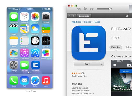 Ello mobile UX/UI